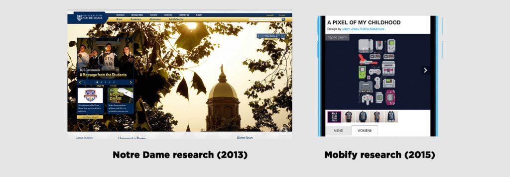 รูปเปรียบเทียบ Carosel ของ Notre Dame และ Mobify
