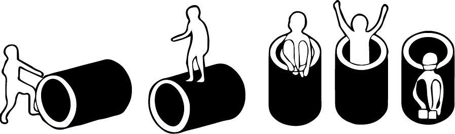 "Affordance ตามนิยามของ Gibson จะนับความเป็็นไปได้ทั้งหมดที่คน ๆ รับรู้  จากรูป Affordance ของท่อหมายถึง รับรู้ ""กลิ้งได้"", ""ยืนด้านบนได้"", ""เข้าไปอยู่ด้านในได้"", ""ซ่อนตัวเองอยู่ด้านในได้"""