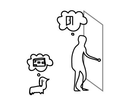 """คนสามารถรับรู้ว่าประตู """"เปิดได้"""" แต่สำหรับสุนัข อาจรับรู้ว่าประตู คือ """"เดินผ่านไม่ได้"""""""